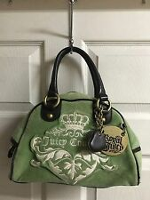 Juicy Couture Mint Green Velour Purse CHARMS Bowler Bag Domed Satchel Tote