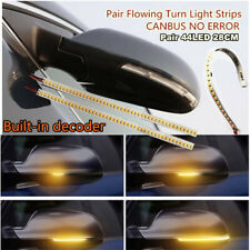 2x 28cm 44LED Car Rear View Mirror Flexible Soft Flowing Turn Signal Strip Light