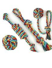 4 pc Dog Pet Toys for Aggressive Chewers - 3 Ropes/1 Ball Toys