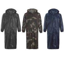Adults Long Camouflage & Plain Waterproof Rain Coat Cagoule Trench Mac