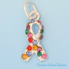 AUTISM AWARENESS RIBBON .925 Sterling Silver Charm MULTICOLOR SWAROVSKI CRYSTAL