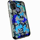 Silver Combat Case for Coolpad Suva / CP3669AANB Phone Cover - BLUE STYLISH CAMO
