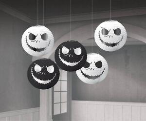 NIGHTMARE BEFORE CHRISTMAS mini hanging PAPER JACK LANTERNS w/foil 5pcs Disney