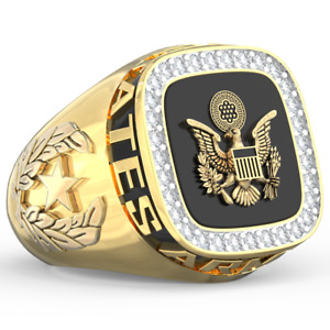 SIGNATURE US Army Military Class Ring Great Seal (Silver/Gold) Stainless Sz 8-12