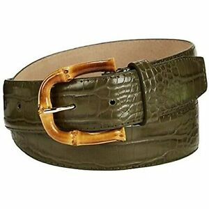 WOMEN GREEN ELASTIC FAUX LEATHER WIDE CHIC WAIST BELT SIZE S M