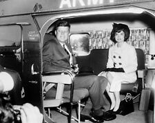 President John F. Kennedy and Jackie seated in helicopter Photo Print