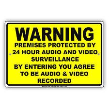 Warning Premises Under 24Hr Audio Video Surveillance On Cctv Aluminum Metal Sign