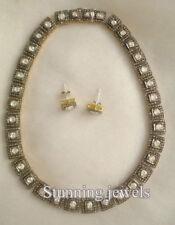 Diamond Silver Women Necklace Set Vintage Style 28.40ct Rose/ Antique Cut