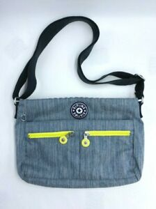 Kipling Angie Indigo Blue Denim Look Crossbody Purse Neon Yellow Zippers