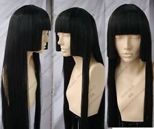Inuyasha Kikyo Long Three flat knife Black Cosplay Wigs Hair volume