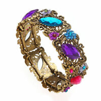 multi-color rhinestone crystal gold flower bracelet bangle charm fashion jewelry