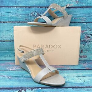 Paradox London Pink Women's Jacey Silver Slingback's Wedge Shoe Size 9.5 - NEW