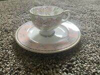 England Fondeville Embassy China Teacup and Wedgwood Bone Saucer Pink Flowers