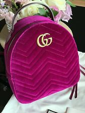 GUCCI GG Marmont Matelasse Velvet Quilted Backpack Fuchsia 524568 NEW $2080