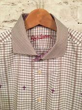 Robert Graham Mens Purple Brown Fleur De Lis French Cuff Shirt, 41-16-M/L Large