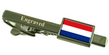 Holland Flag Engraved Personalised Tie Clip