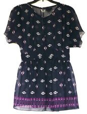 Anna Sui for Target Semi-Sheer Purple Infinity Print Empire Blouse Shirt Top S