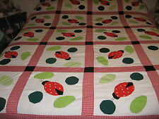 QUILT TOP PATCHWORK HAND-APPLIQUE LADY-BUGS ACCENTS  88'' X 72''  ~NEW~