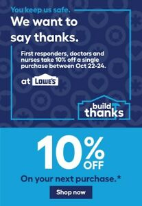 Lowe's 10% off coupon Valid 10/22/21 - 10/24/21