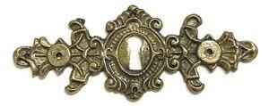 "SINGLE Vintage ORNATE BRASS Skeleton Key hole Escutcheon 4"" X 1 5/8"""