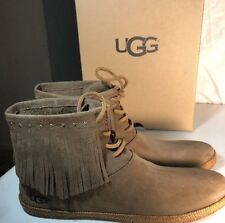 UGG ALEXIA LEATHER FRINGE BOOTIE WOMENS SHOES SIZE 9 DKA BRAND NEW AUTHENTIC