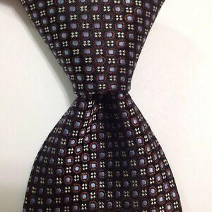 HUGO BOSS Men's 100% Silk Necktie ITALY Designer Geometric Brown/Blue/Gray EUC