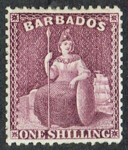 Barbados 1875-81 SG81 1/- Purple V Good Mounted Mint Large Part O/G Cat. £170.00