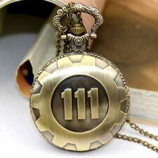 Bronze Vault 111 Antique Fallout 4 Pocket Watch Neckage Time Chain Pendant