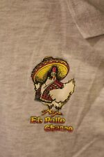 El Pollo Charro T Shirt - Beige knit Polo Shirt - Vintage 1980s -- Los Angeles