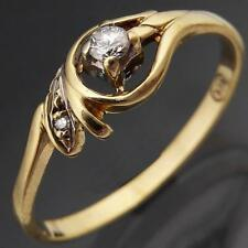 BUDGET Low Set Everyday Flowing 9k Solid Yellow GOLD 2 DIAMOND RING Mid Sz N
