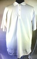 Men's Greg Norman White Short Sleeve Knit 3 Button Play Dry Golf Polo Shirt XXL
