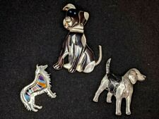 Pins - Zuni Style / Artisan 925 Lot of 3 Sterling Silver Dog Brooches &