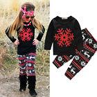 Christmas Cartoon Sleepwear Kids Girls Cotton Nightwear Pj's Pajamas New