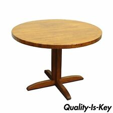 "42"" Round Mission Style Oak Butcher Block Top Dining Kitchen Table Modern MCM"