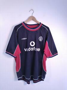 MANCHESTER UNITED | Men's 2000 2001 Blue Umbro Away Football Shirt | XL