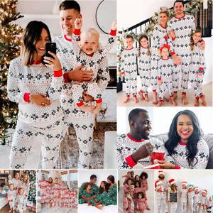 Family Matching Adult Christmas Pyjamas Xmas Nightwear Pajamas PJs Set Snowflake