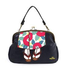 mis zapatos 3-way shoulder bag with cute Kimono design from Japan (Black)