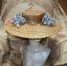 Yummy 1940s Huge Straw Cartwheel w Purple Violets Silk Ribbon& Veil Gage Bros.