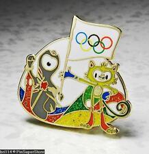 OLYMPIC PINS BADGE 2016 RIO DE JANEIRO BRAZIL 2012 LONDON ENGLAND MASCOTS FLAG
