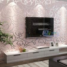 Pink Rose Vintage Luxury Damask on Embossed Flocking Wallpaper Roll Bedroom 10M