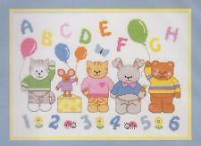 Stickset, ABC, Animali, numeri, bambini, - stanza, dimensions, prestampata, ricamare