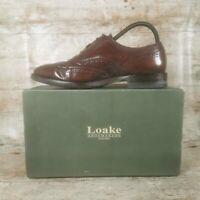 Loake 202 Brown Mens Leather Lace-up Brogues Wingtip Oxford Shoes - Used VGC