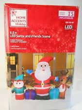 Airblown Inflatable Santa and Friends Scene Home Accents Holiday 6.5FT LED
