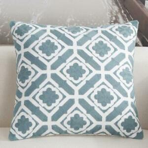 "Hampton Style Teal Floral Cotton Scandinavian Embroidery Cushion Cover 18"" Decor"