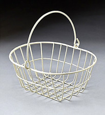 White wire metal oval basket with drop handle - Free 2 Day Shipping