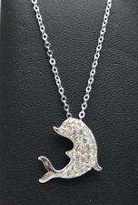 Sterling Silver 925 CZ Cluster Enamel Fancy Nautical Dolphin Pendant - Necklace