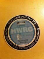 Funny Catch Some Criminals Black Self Cling car  tax disc holder Licence Permit