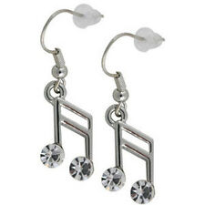 w Swarovski Crystal Clear Semiquaver 16th Musical Piano MUSIC NOTE Earrings Xmas