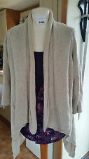 Looks New Soon Ladies Beige Cardigan Waterfall Wrap L 16 18 Three Quarter Sleeve
