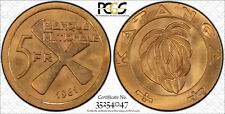 1961 KATANGA (CONGO) 5 Franc Gold, 5F & 1F Bronze Set PCGS MS65 w/KATANGA CROSS